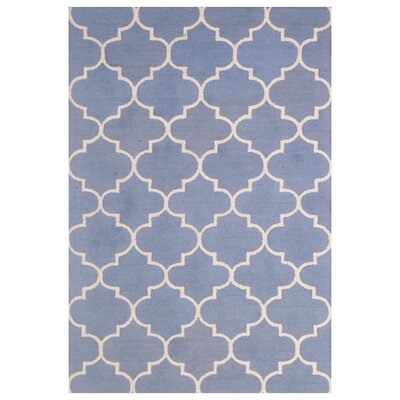 Wool Hand-Tufted Light Blue/Ivory Area Rug Rug Size: 6 x 6