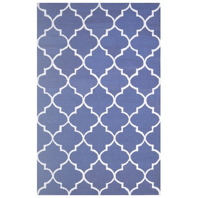 Wool Hand-Tufted Navy Blue/Gray Area Rug Rug Size: 5 x 8