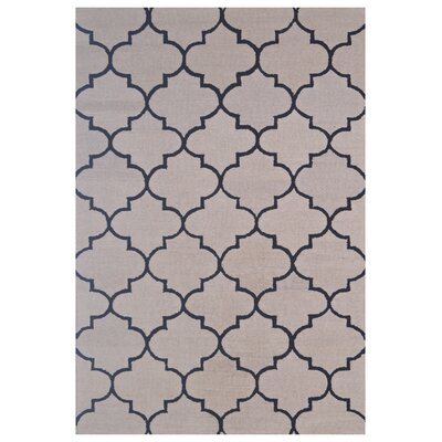 Wool Hand-Tufted Beige/Black Area Rug Rug Size: 5 x 8