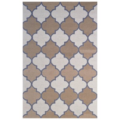 Wool Hand-Tufted Ivory/Rust Area Rug Rug Size: 5 x 8