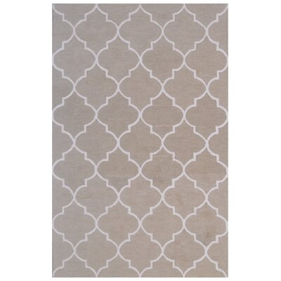 Wool Hand-Tufted Light Green/Ivory Area Rug Rug Size: 5 x 8