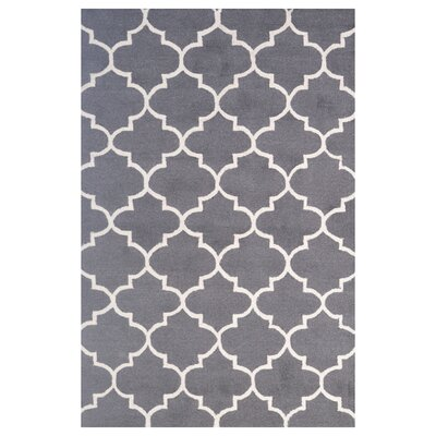 Wool Hand-Tufted Dark Gray/Ivory Area Rug Rug Size: 5 x 8