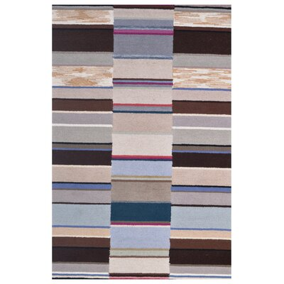 Wool Hand-Tufted Ivory/Brown Area Rug Rug Size: 6 x 6