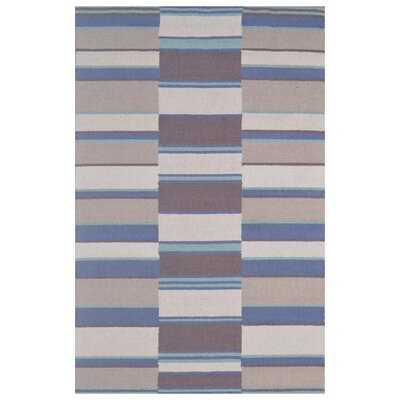 Wool Hand-Tufted Ivory/Blue Area Rug Rug Size: 5 x 8