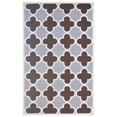 Wool Hand-Tufted Silver/Brown Area Rug Rug Size: 5 x 8