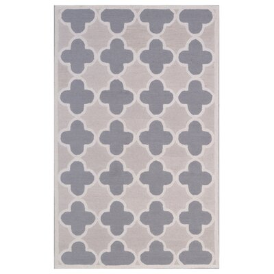 Wool Hand-Tufted Ivory/Gray Area Rug Rug Size: 6 x 6