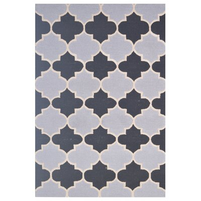 Wool Hand-Tufted Silver/Black Area Rug Rug Size: 5 x 8