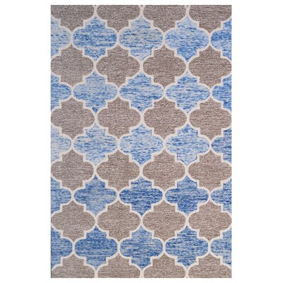 Wool Hand-Tufted Blue/Brown Area Rug Rug Size: 5 x 8