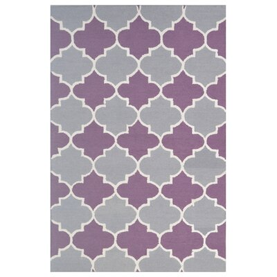 Wool Hand-Tufted Gray/Purple Area Rug Rug Size: 6 x 6