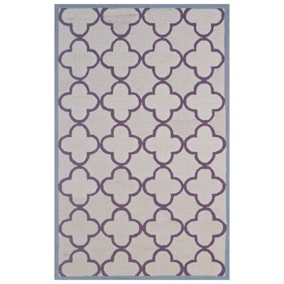 Wool Hand-Tufted Ivory/Purple Area Rug Rug Size: 6 x 6