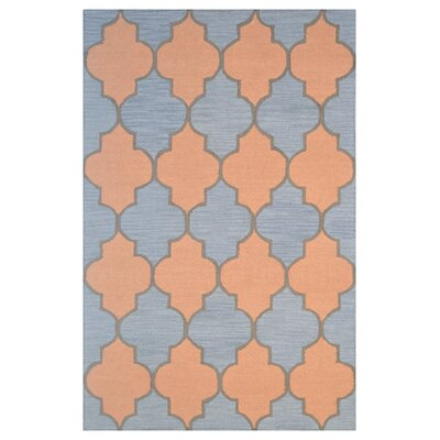 Wool Hand-Tufted Blue/Gold Area Rug Rug Size: 5 x 8