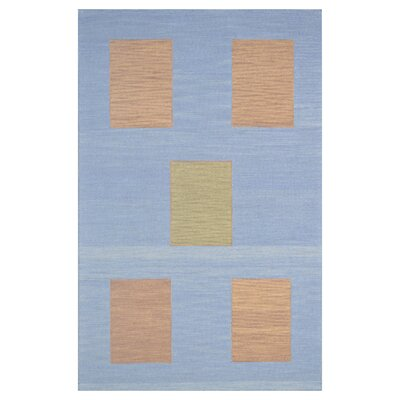 Wool Hand-Tufted Blue/Yellow Area Rug Rug Size: 6 x 6