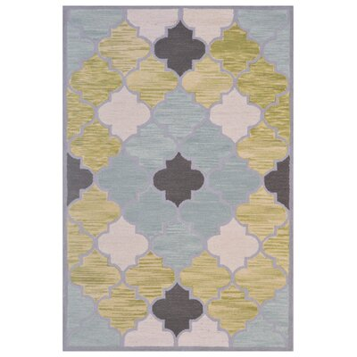 Wool Hand-Tufted Blue/Green Area Rug Rug Size: 5 x 8
