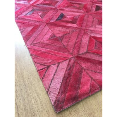 Hand-Woven Leather Pink Area Rug Rug Size: 5 x 8