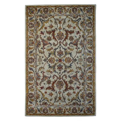Wool Floral Hand-Tufted Sage/Gold Area Rug Rug Size: 6 x 6