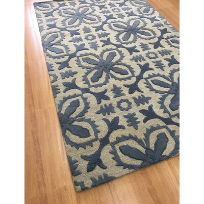 Wool Floral Hand-Tufted Beige/Blue Area Rug Rug Size: 6 x 6
