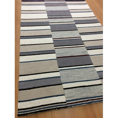 Hand-Woven Gray/Ivory Area Rug Rug Size: 6 x 6