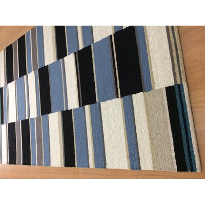 Hand-Woven Ivory/Blue Area Rug Rug Size: 6 x 6