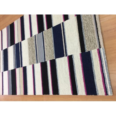 Hand-Woven Ivory/Navy Blue Area Rug Rug Size: 6 x 6