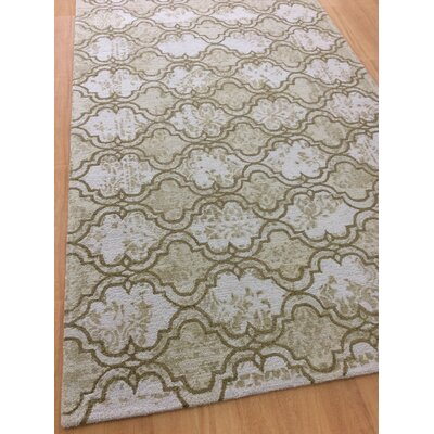Hand-Woven Ivory/Brown Area Rug Rug Size: 5 x 8