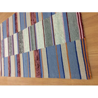 Hand-Woven Blue/Brown Area Rug Rug Size: 5 x 8