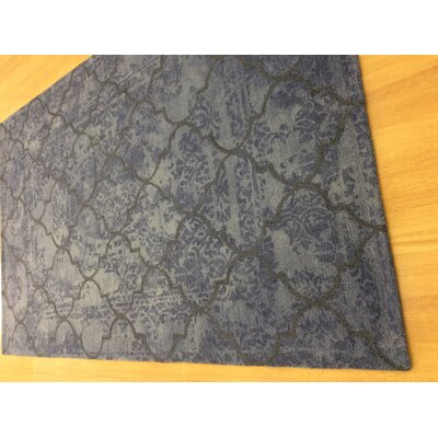 Hand-Woven Gray/Blue Area Rug Rug Size: 6 x 6