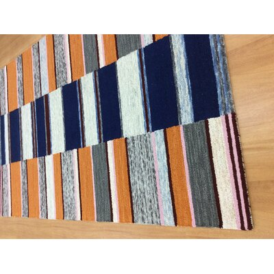 Hand-Woven Blue/Orange Area Rug Rug Size: 6 x 6