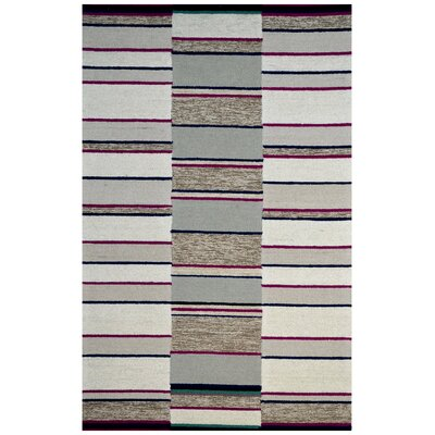 Hand-Woven Ivory/Gray Area Rug Rug Size: 6 x 6