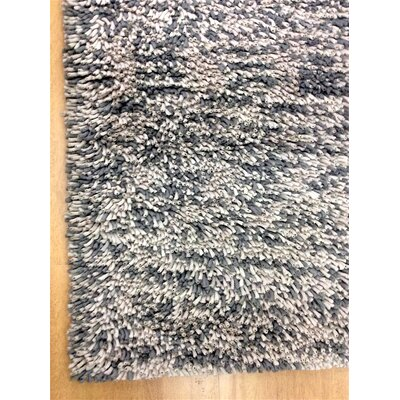 Shag Eyeball Woolen Hand Knotted Gray/White Mix Area Rug Rug Size: Square 6