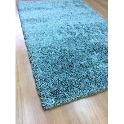 Shag Eyeball Woolen Hand Knotted Ice Blue Area Rug Rug Size: 9 x 12
