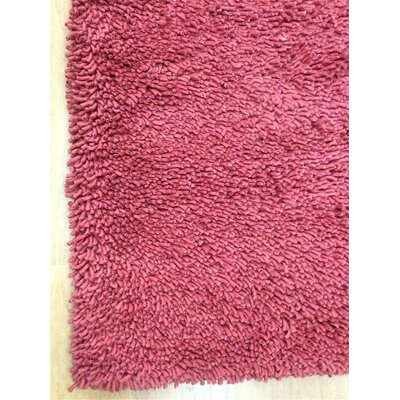 Shag Eyeball Woolen Hand Knotted Claret Wine Red Area Rug Rug Size: Round 6