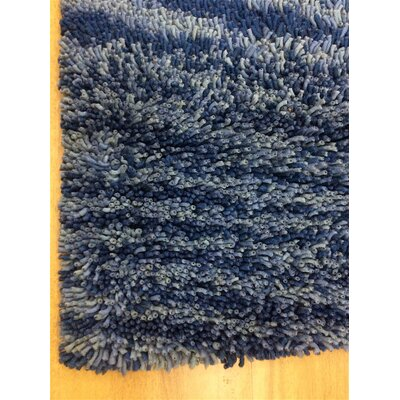 Shag Eyeball Woolen Hand Knotted Blue Multi Mix Area Rug Rug Size: Round 10