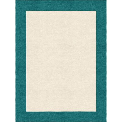 Degen Hand Tufted Wool Teal/Beige Area Rug Rug Size: 9 x 12