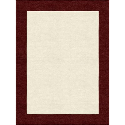 Godsey Hand-Tufted Red Wine Pink Border Rug 5 X 8 Rug Size: Rectangle 9 x 12