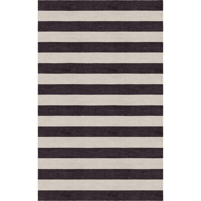 Critchfield Stripe Hand-Tufted Wool Silver/Charcoal Area Rug Rug Size: Rectangle 6 x 9
