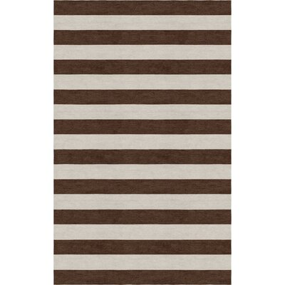 Critchlow Stripe Hand Tufted-Wool Silver/Brown Area Rug Rug Size: Rectangle 9 x 12