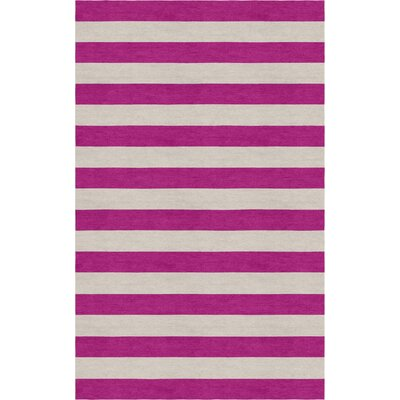 Crites Stripe Hand-Tufted Wool Silver/Magenta Area Rug Rug Size: Rectangle 5 x 8