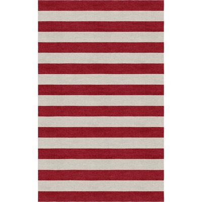 Crittenden Stripe Hand-Tufted Wool Silver/Wine Red Area Rug Rug Size: Rectangle 5 x 8