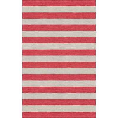Crivello Stripe Hand-Tufted Wool Silver/Red Area Rug Rug Size: Rectangle 6 x 9