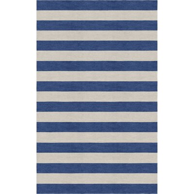 Crofoot Stripe Hand-Tufted Wool Silver/Navy Area Rug Rug Size: Rectangle 6 x 9