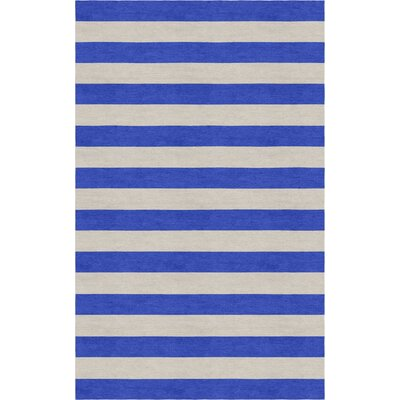 Crofts Stripe Hand-Tufted Wool Silver/Blue Area Rug Rug Size: Rectangle 5 x 8