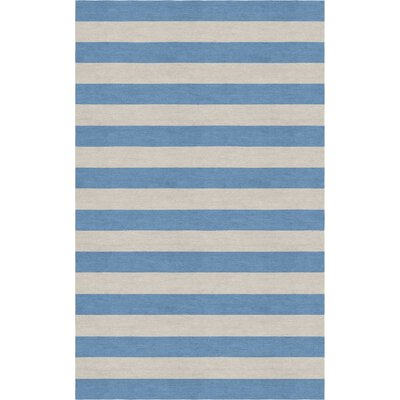 Croker Stripe Hand-Tufted Wool Silver/Aqua Area Rug Rug Size: Rectangle 5 x 8