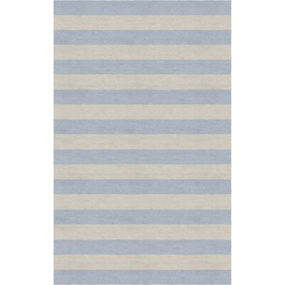 Croley Stripe Hand-Tufted Wool Silver/Light Blue Area Rug Rug Size: Rectangle 9 x 12