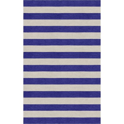 Ceron Hand Tufted Wool Silver/Indigo Stripe Area Rug Rug Size: Rectangle 8 x 10