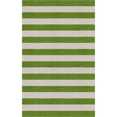 Cerrato Hand Tufted Wool Silver/Green Stripe Area Rug Rug Size: Rectangle 6 x 9
