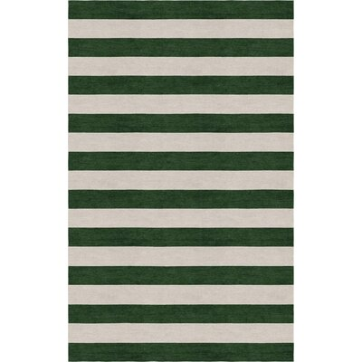 Cerrone Hand Tufted Wool Silver/Dark Green Stripe Area Rug Rug Size: Rectangle 9 x 12