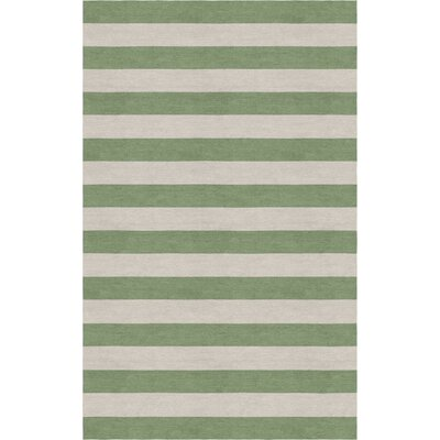 Cervantes Hand Tufted Wool Silver/Sage Stripe Area Rug Rug Size: Rectangle 5 x 8