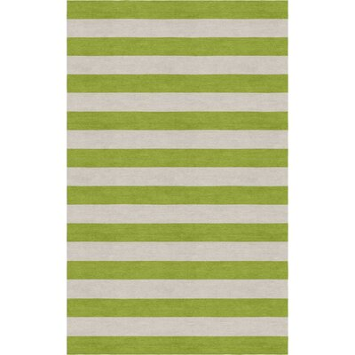 Cervantez Hand Tufted Wool Silver/Olive Green Stripe Area Rug Rug Size: Rectangle 6 x 9