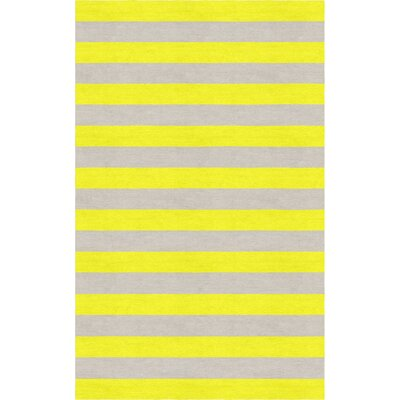 Cespedes Hand Tufted Wool Silver/Yellow Stripe Area Rug Rug Size: Rectangle 6 x 9