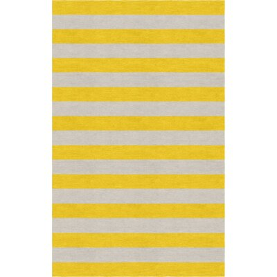 Cessna Hand Tufted Wool Silver/Gold Stripe Area Rug Rug Size: Rectangle 6 x 9